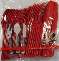 Colored Party Utensils - Knives, Spoons, and Forks - RED