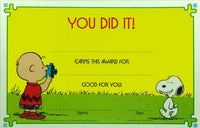 Charlie Brown and Snoopy Vintage Reward Certificate - You Did It! - REDUCED PRICE!