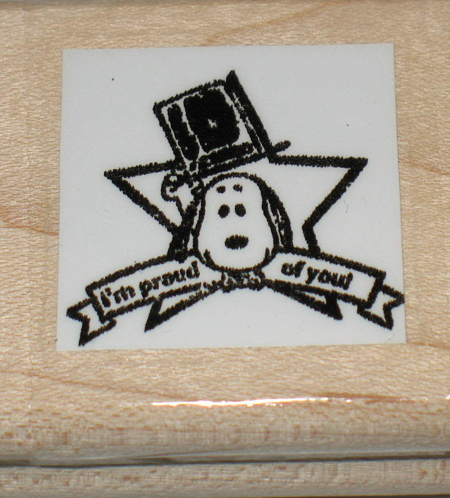 """I'm Proud Of You"" Rubber Stamp (*Re-Mounted Used Stamp)"