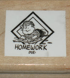 """Homework Due"" Rubber Stamp (*Re-Mounted Used Stamp)"