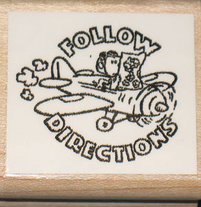 """Follow Directions"" Rubber Stamp (*Re-Mounted Used Stamp)"