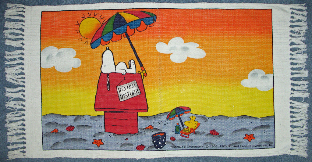 Snoopy On The Beach Cotton Rug