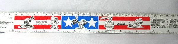 "Snoopy Vintage 12"" Metal Patriotic Ruler"