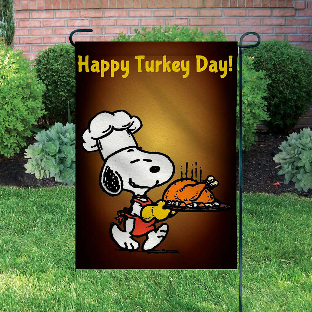 Peanuts Double-Sided Flag - Snoopy Thanksgiving Chef