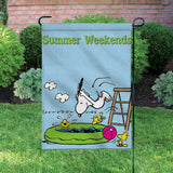 Peanuts Double-Sided Flag - Summer Weekends (Dye Flaw)