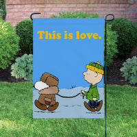 Peanuts Double-Sided Flag - Charlie Brown Walks Snoopy