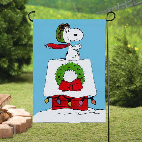 Peanuts Double-Sided Flag - Flying Ace On Decorated Doghouse