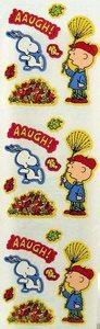 Charlie Brown and Snoopy Raking Leaves Stickers