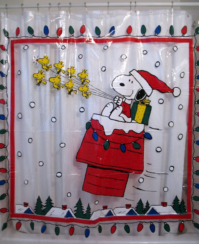 Snoopy Vinyl Shower Curtain - Christmas Lights