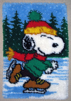 Snoopy Skater Latch Hook Wall Hanging / Rug