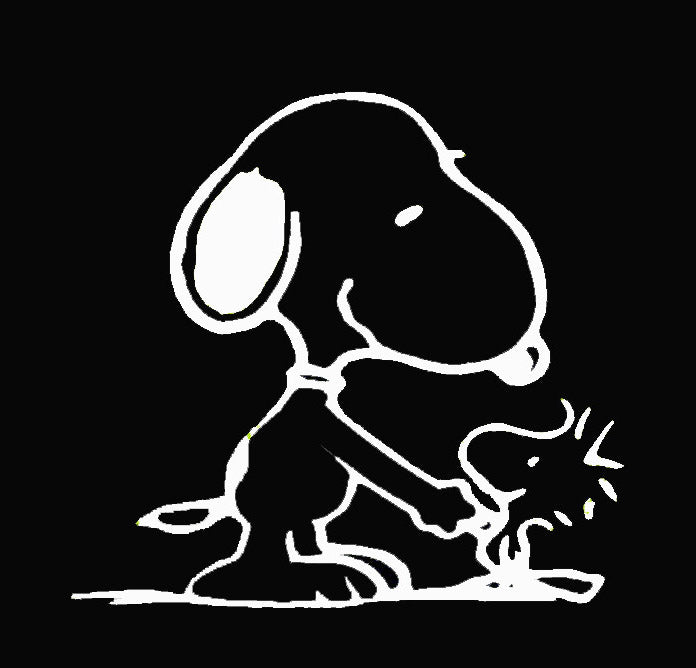 "Snoopy and Woodstock Shake ""Hands"" Die-Cut Vinyl Decal - White"