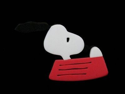 Snoopy in dog dish foam magnet