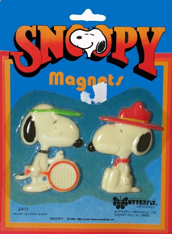 Snoopy Tennis Player and Snoopy Beaglescout magnet set