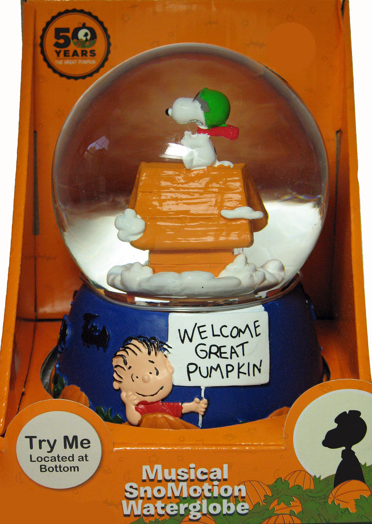 The Great Pumpkin 50th Anniversary Musical SnoMotion Musical Globe - Flying Ace