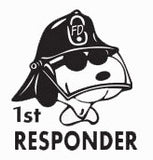 """First Responder"" Snoopy Die-Cut Vinyl Decal - Black"