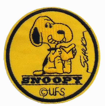 SNOOPY HOLDING LETTER PATCH - GOLD