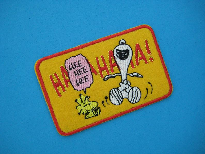 SNOOPY LAUGHING EMBROIDERED FELT PATCH
