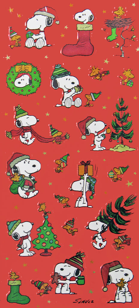 Snoopy Metallic Christmas Stickers