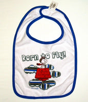 Snoopy Flying Ace Baby Bib - Born To Fly - Special Low Price!