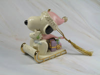 2002 LENOX SNOOPY'S SLEDDING ADVENTURE CHINA CHRISTMAS ORNAMENT
