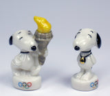Peanuts Mini Porcelain Figurine - RARE Olympics Torch Runner and Gold Medal