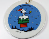 1990 Willitts Porcelain Disk Ornament - Snoopy Santa
