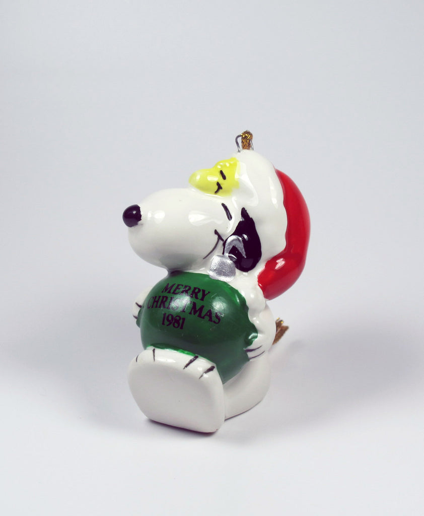1981 Snoopy Holding Ornament Christmas Ornament