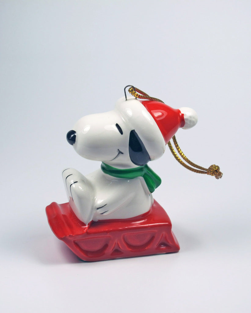 1981 Snoopy On Sled Christmas Ornament