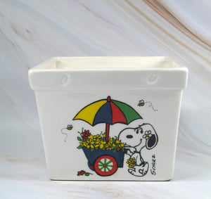 Snoopy and Woodstock Vintage Square Planter