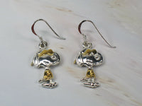 Joe Cool Two-Tone Sterling Silver and Gold Plated Fish Hook Earrings