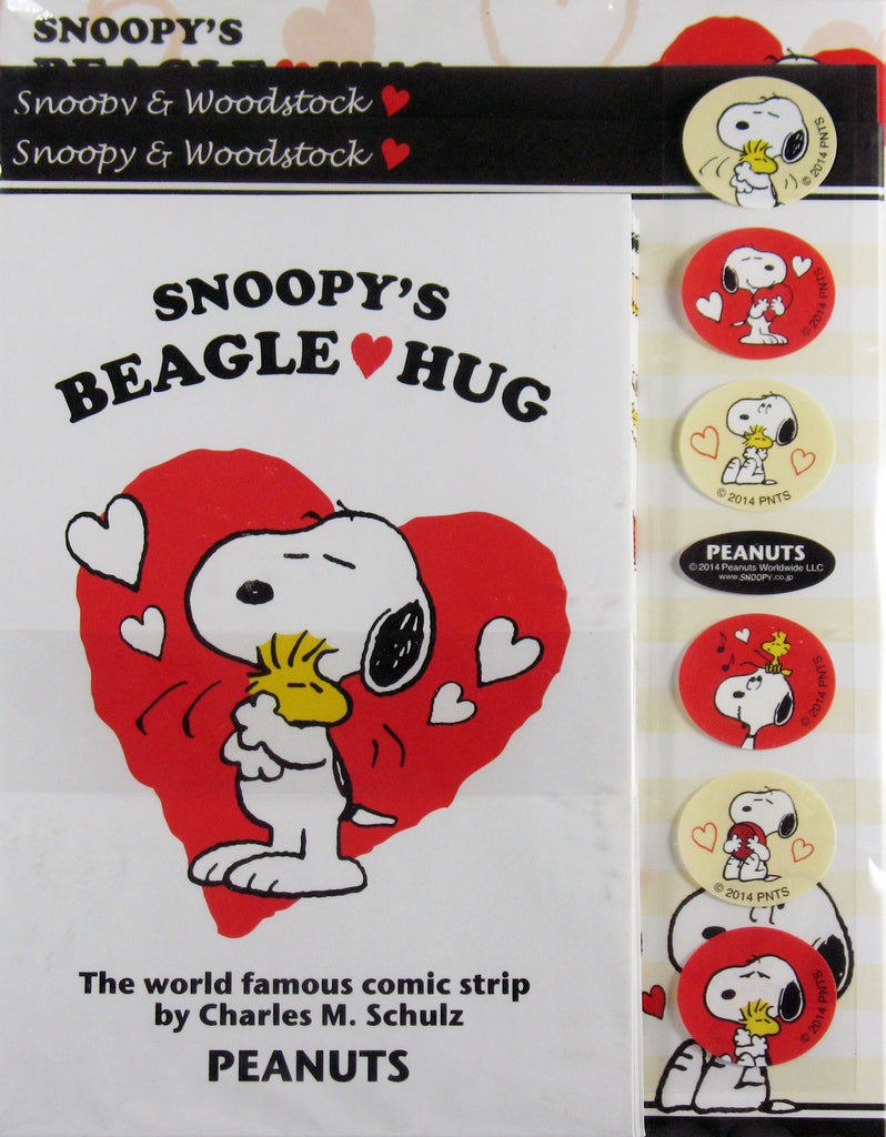 Snoopy Beagle Hugs Assorted Stationery and Seals Set