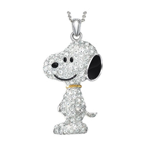 Danbury Mint Snoopy Swarovski Crystal Necklace With 18K Gold Collar - RARE!
