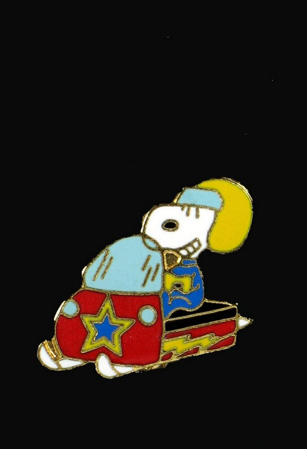 Snoopy Snowmobile Cloisonne Pin