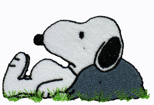 SNOOPY LEANS AGAINST ROCK PATCH