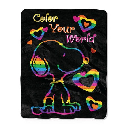 Snoopy Super-Soft Fleece Throw - Color Your World