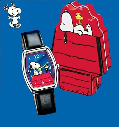 Snoopy and Woodstock Quartz Watch In Decorative Doghouse-Shaped Tin