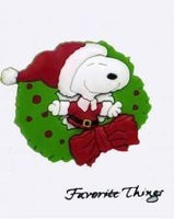 Snoopy Santa Wreath Pin