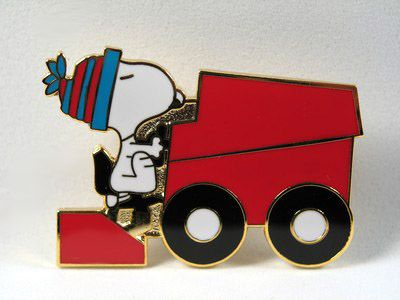 Snoopy Drives Red Zamboni Cloisonne Pin / Tie Tack