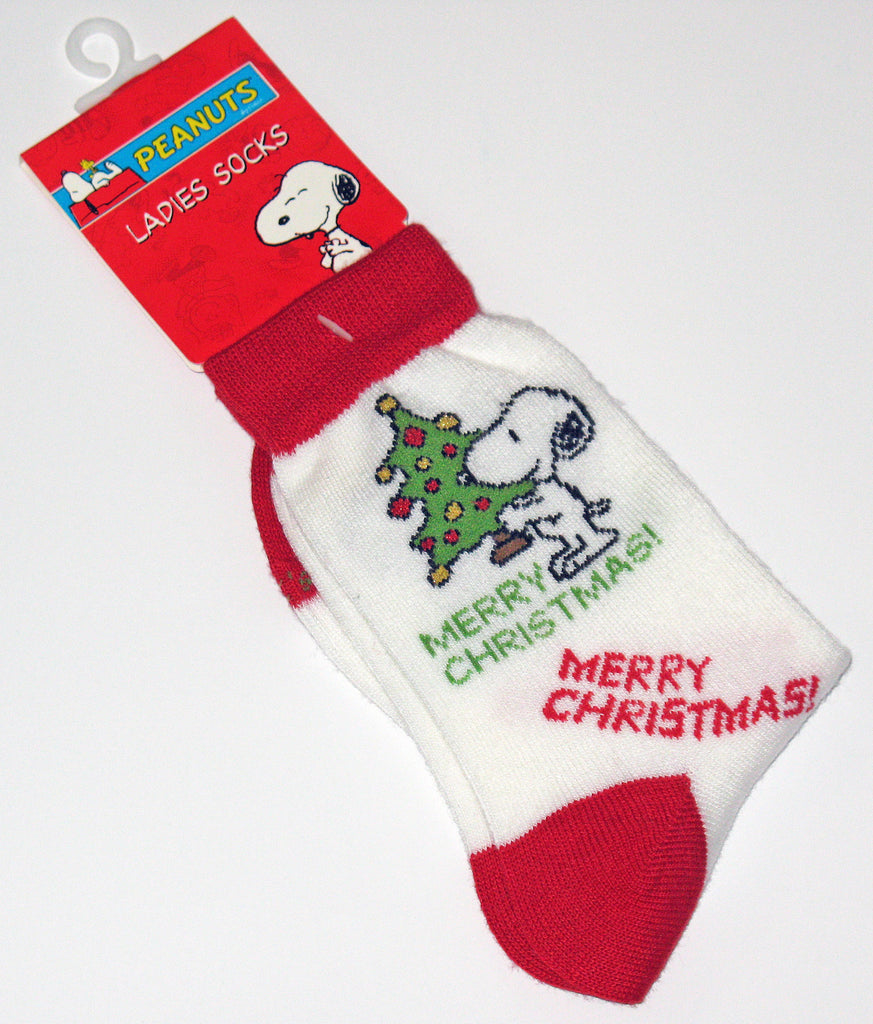 Snoopy Christmas Crew-Length Socks With Glitter Accents