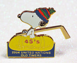 Snoopy United Nations Old Timers Hockey League Pin - 2004
