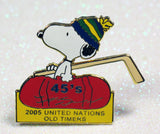 Snoopy United Nations Old Timers Hockey League Pin - 2005