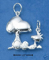 Snoopy and Woodstock Double-Loop Sterling Silver Pendant