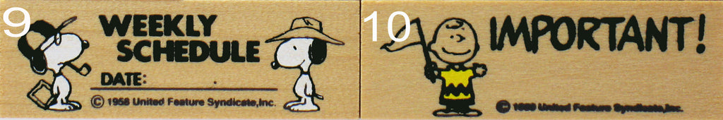 Peanuts Weekly Schedule RUBBER STAMP