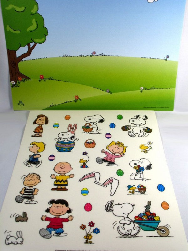 Peanuts Gang Reusable Easter Sticker Scene / Window Cling Set