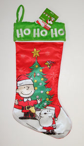 CHARLIE BROWN SATIN CHRISTMAS TREE STOCKING - HO HO HO