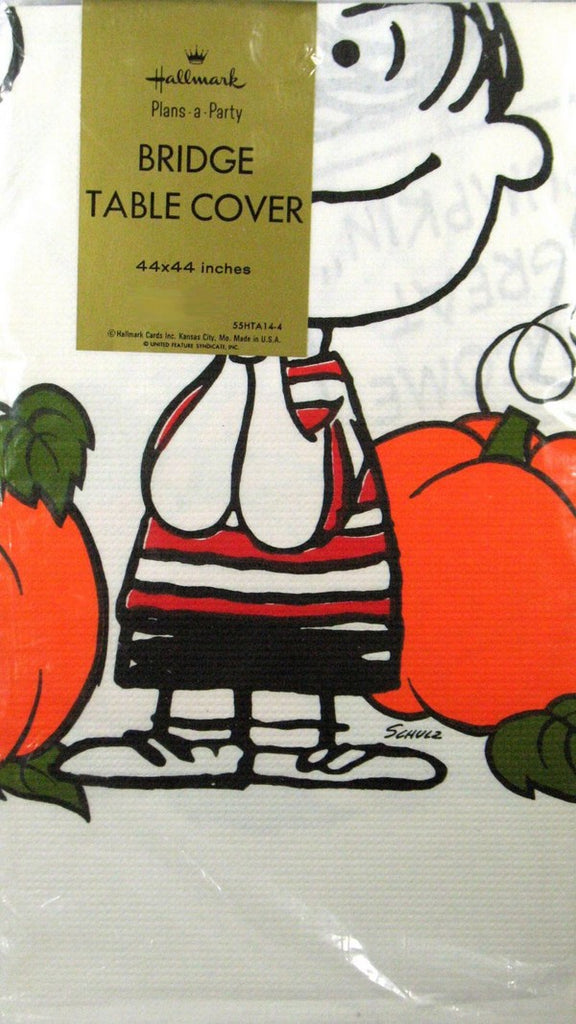 Peanuts Gang Halloween Bridge Table Cover (Fits Card Table)