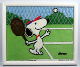 Snoopy Needlepoint Framed Picture - Tennis