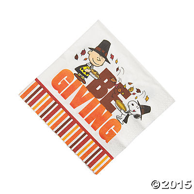 Peanuts Thanksgiving Dinner Napkins - Be Giving