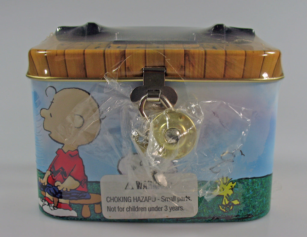 Peanuts Tin Bank With Lock and Key - Psych Booth