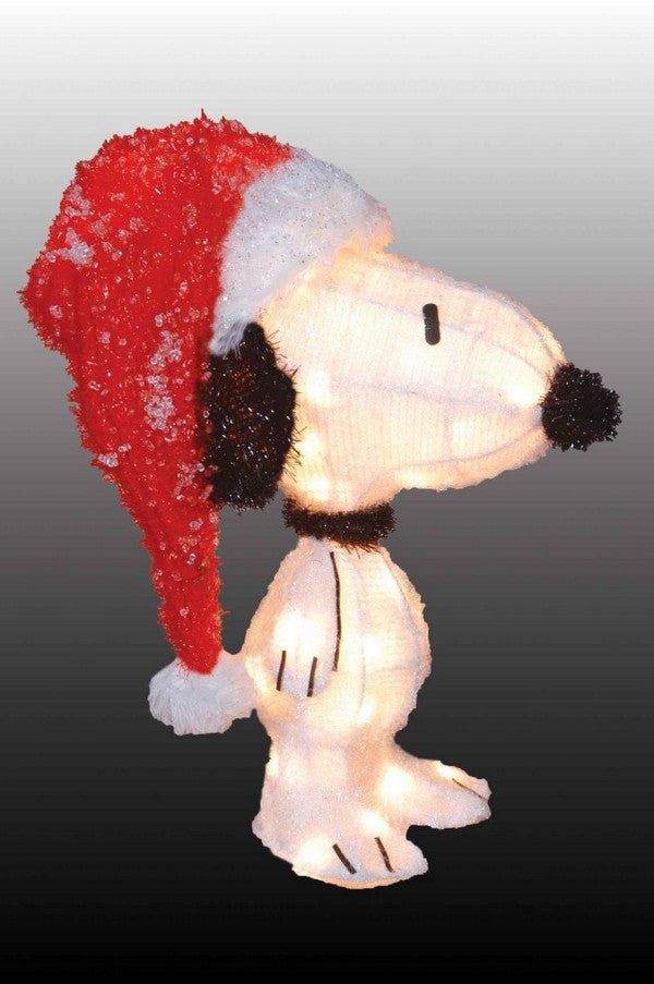3-D Soft Lighted Tinsel Yard Art - Snoopy Santa  ON SALE!